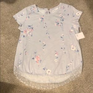 NWT! Periwinkle shirt with floral and lace details